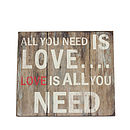 'All You Need Is Love' Wooden Wall Art
